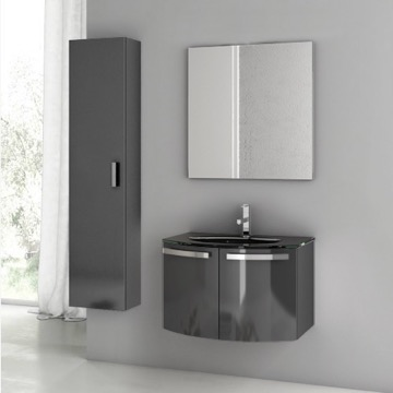 28 Inch Glossy Anthracite Bathroom Vanity Set