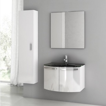 28 Inch Glossy White Bathroom Vanity Set