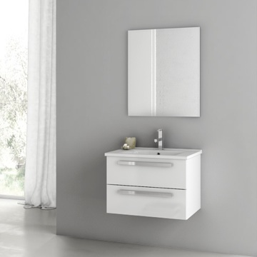 24 Inch Glossy White Bathroom Vanity Set