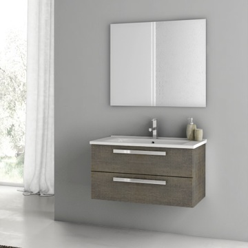 33 Inch Grey Oak Bathroom Vanity Set