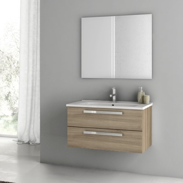 33 Inch Style Oak Bathroom Vanity Set