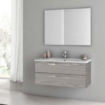 38 Inch Grey Walnut Bathroom Vanity Set