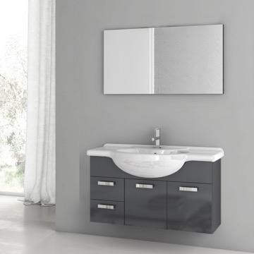 39 Inch Glossy Anthracite Bathroom Vanity Set