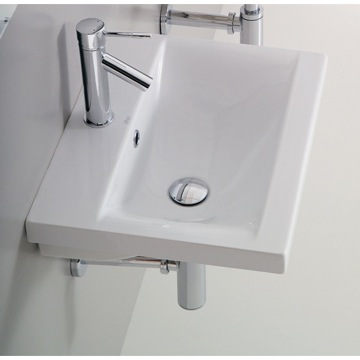 Rectangular White Ceramic Wall Mounted or Self Rimming Bathroom Sink