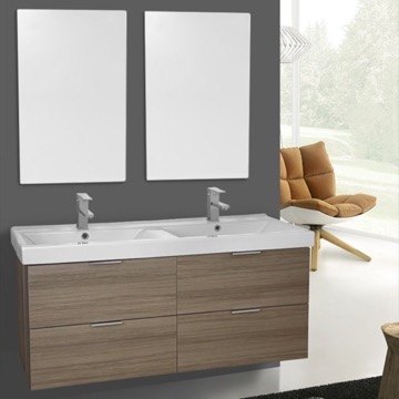 47 Inch Larch Canapa Wall Mounted Bathroom Vanity Set, Vanity Mirror Included