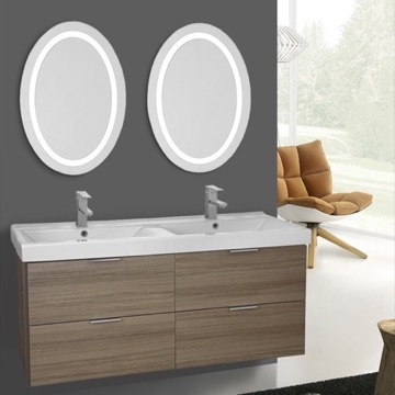 47 Inch Larch Canapa Wall Mounted Bathroom Vanity Set, Lighted Vanity Mirror Included