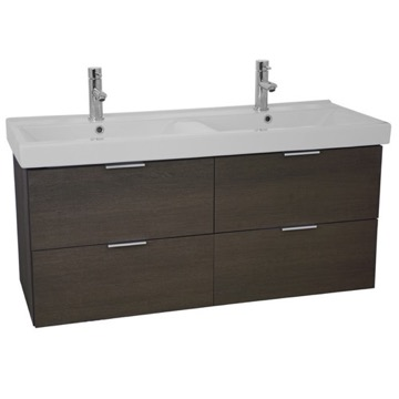 47 Inch Wall Mount Grey Oak Double Vanity Cabinet With Fitted Sink