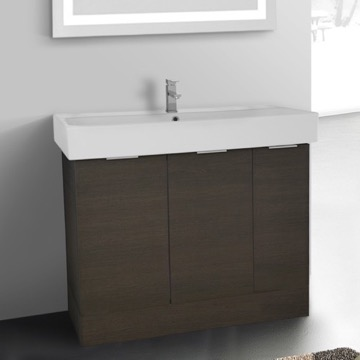 40 Inch Floor Standing Grey Oak Vanity Cabinet With Fitted Sink