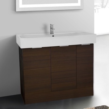 40 Inch Floor Standing Larch Brown Vanity Cabinet With Fitted Sink