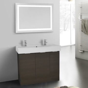 40 Inch Grey Oak Floor Standing Bathroom Vanity Set, Lighted Vanity Mirror Included