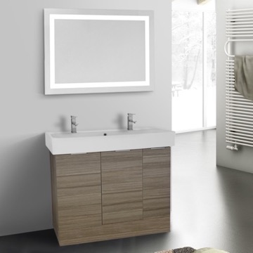 40 Inch Larch Canapa Floor Standing Bathroom Vanity Set, Lighted Vanity Mirror Included