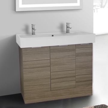 40 Inch Floor Standing Larch Canapa Double Vanity Cabinet With Fitted Sink