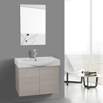 28 Inch Natural Wall Mounted Bathroom Vanity Set, Vanity Mirror Included