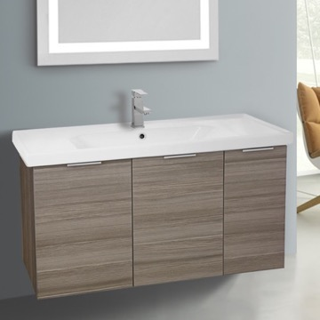 39 Inch Wall Mount Larch Canapa Vanity Cabinet With Fitted Sink