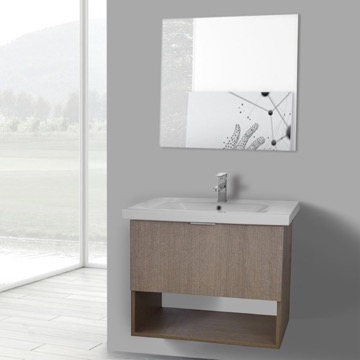 32 Inch Canapa Tranche Oak Wall Mounted Bathroom Vanity Set, Vanity Mirror Included