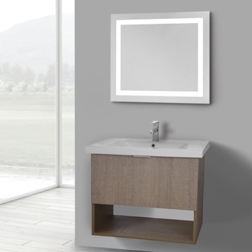 32 Inch Canapa Tranche Oak Wall Mounted Bathroom Vanity Set, Lighted Vanity Mirror Included