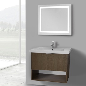 32 Inch Ecru Tranche Oak Wall Mounted Bathroom Vanity Set, Lighted Vanity Mirror Included