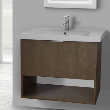 32 Inch Wall Mount Ecru Tranche Oak Vanity Set, 1 Drawer and Open Space