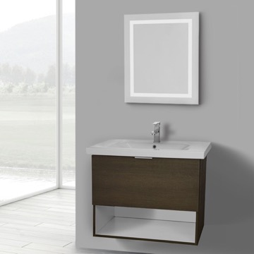 32 Inch Grey Oak Wall Mounted Bathroom Vanity Set, Lighted Vanity Mirror Included