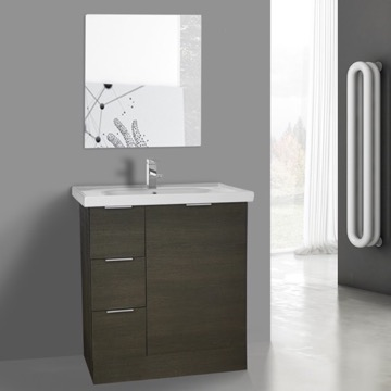 32 Inch Grey Oak Floor Standing Bathroom Vanity Set, Vanity Mirror Included