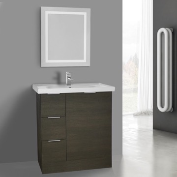 32 Inch Grey Oak Floor Standing Bathroom Vanity Set, Lighted Vanity Mirror Included