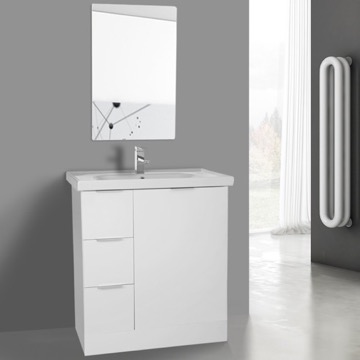 32 Inch Glossy White Floor Standing Bathroom Vanity Set, Vanity Mirror Included