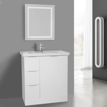 32 Inch Glossy White Floor Standing Bathroom Vanity Set, Lighted Vanity Mirror Included
