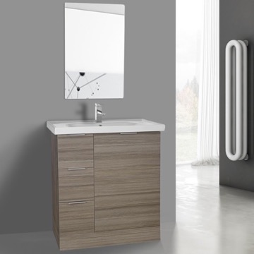 32 Inch Larch Canapa Floor Standing Bathroom Vanity Set, Vanity Mirror Included
