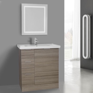 32 Inch Larch Canapa Floor Standing Bathroom Vanity Set, Lighted Vanity Mirror Included