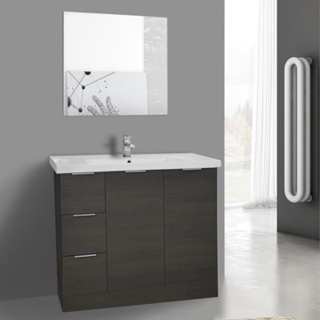 39 Inch Grey Oak Floor Standing Bathroom Vanity Set, Vanity Mirror Included
