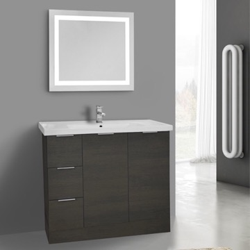 39 Inch Grey Oak Floor Standing Bathroom Vanity Set, Lighted Vanity Mirror Included