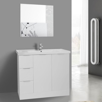 39 Inch Glossy White Floor Standing Bathroom Vanity Set, Vanity Mirror Included
