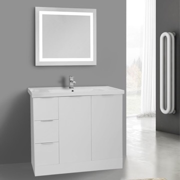 39 Inch Glossy White Floor Standing Bathroom Vanity Set, Lighted Vanity Mirror Included