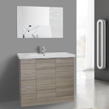 39 Inch Larch Canapa Floor Standing Bathroom Vanity Set, Vanity Mirror Included