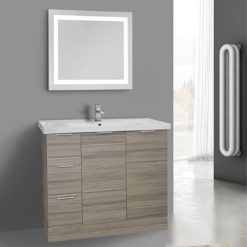 39 Inch Larch Canapa Floor Standing Bathroom Vanity Set, Lighted Vanity Mirror Included