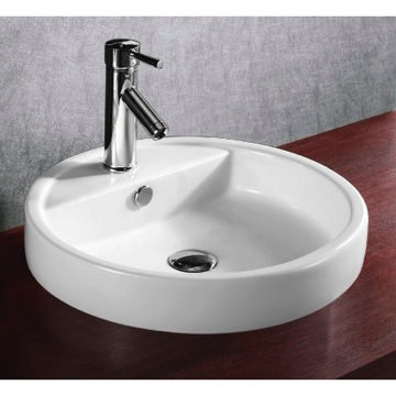 Bathroom Sink Circular White Ceramic Self Rimming bathroom Sink CA4039A Caracalla CA4039A