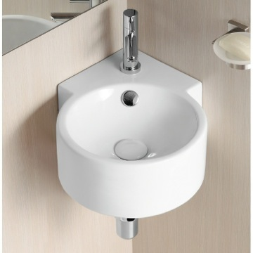 Round White Ceramic Wall Mounted Corner Bathroom Sink