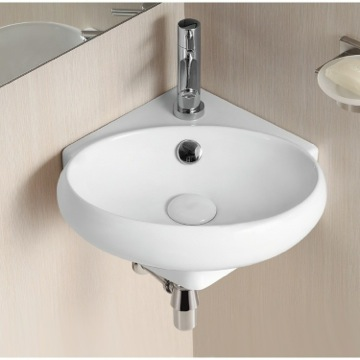 Oval White Ceramic Wall Mounted Corner Bathroom Sink