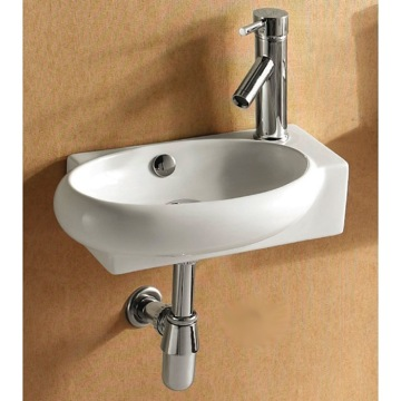 Round White Ceramic Wall Mounted or Vessel Bathroom Sink
