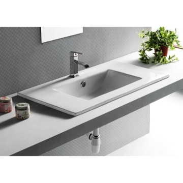 Rectangular White Ceramic Self Rimming bathroom Sink