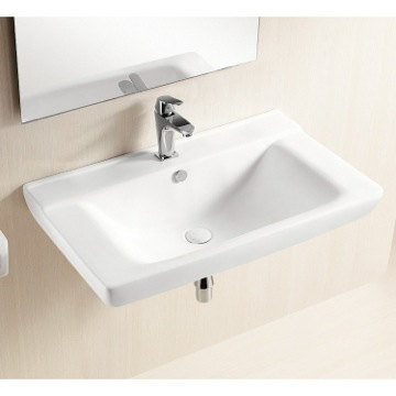 curved rectangular white ceramic wall mounted bathroom sink, gsi