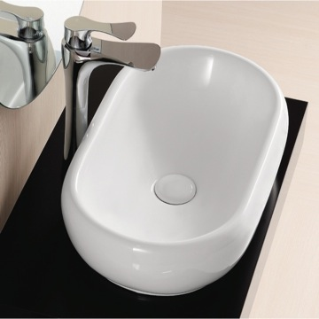 Oval White Ceramic Vessel Bathroom Sink