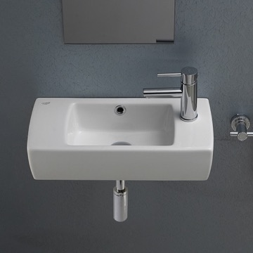 Small Rectangular Ceramic Wall Mounted or Drop In Bathroom Sink