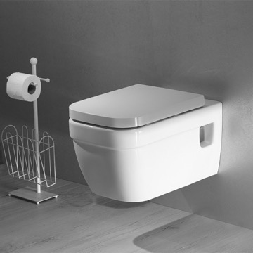 White Ceramic Wall Toilet Mount