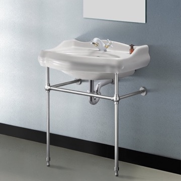 Traditional Ceramic Console Sink With Chrome Stand