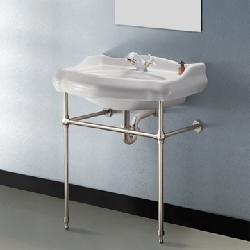Traditional Ceramic Console Sink With Satin Nickel Stand