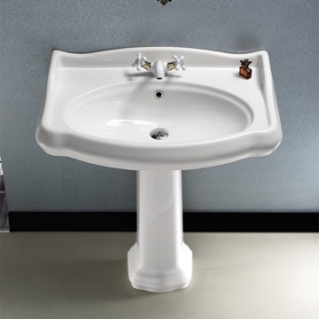 Classic-Style White Ceramic Pedestal Sink