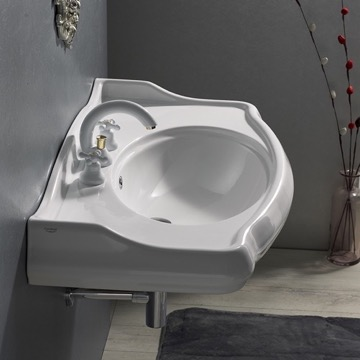 Rectangle White Ceramic Wall Mounted Sink