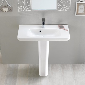 Rectangular White Ceramic Pedestal Sink