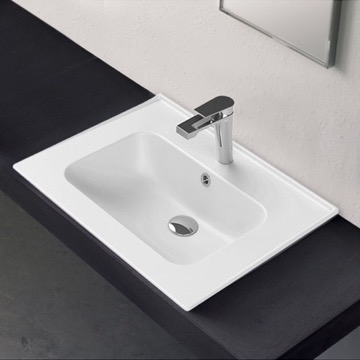 Rectangle White Ceramic Drop In or Wall Mounted Sink